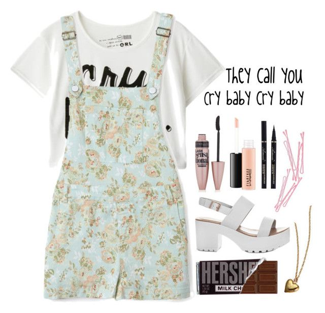 """""""-but you don't f*cking care"""" by crybabycostello ❤ liked on Polyvore featuring Forever 21, MAC Cosmetics, Maybelline, BOBBY, melaniemartinez and Crybaby"""
