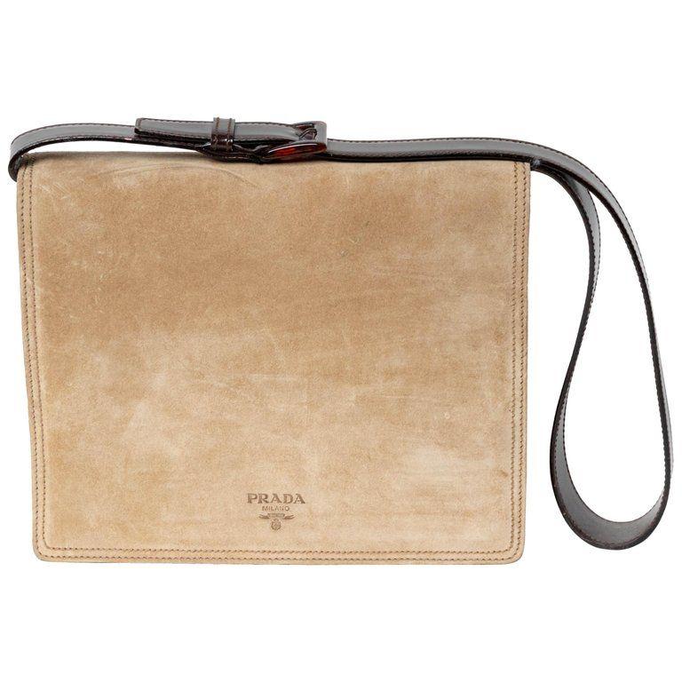 b2c5601311cc Vintage Prada Suede Shoulder Bag | From a unique collection of rare vintage  Structured Shoulder Bags