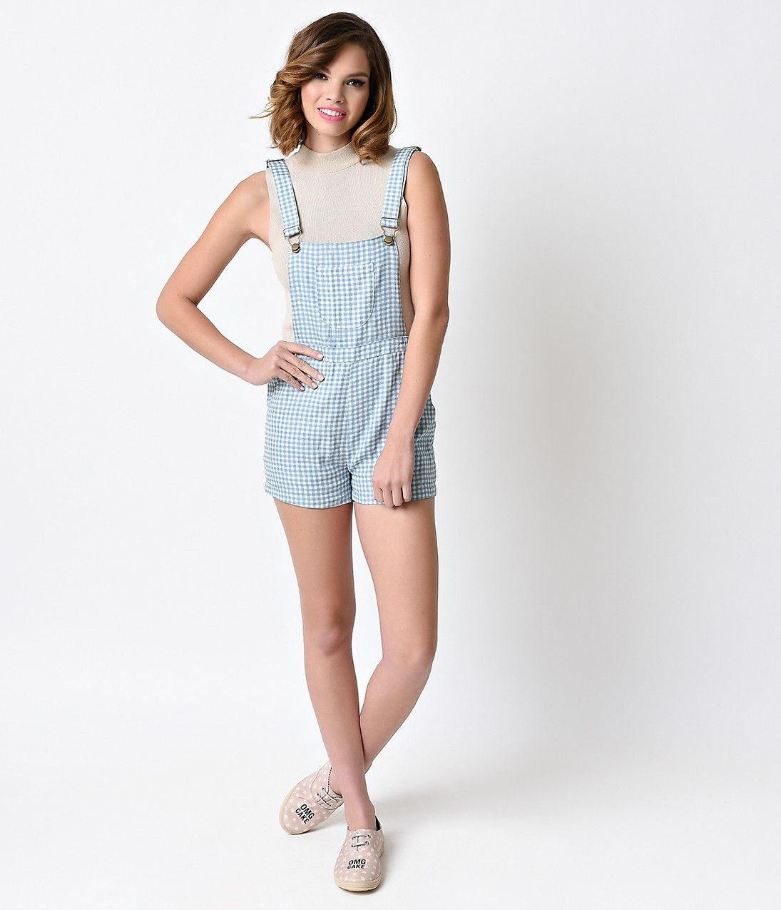Retro Style Sky Blue & White Gingham Suspender Overall Shorts