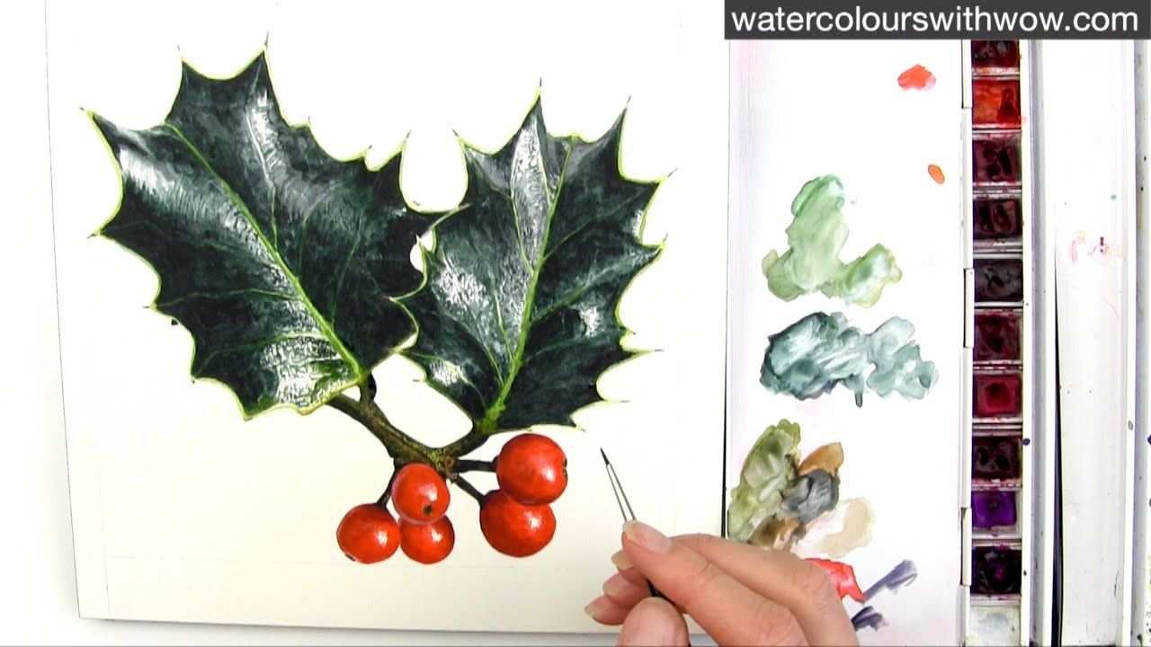 How To Paint Realistic Holly Leaves For Your Christmas Card In