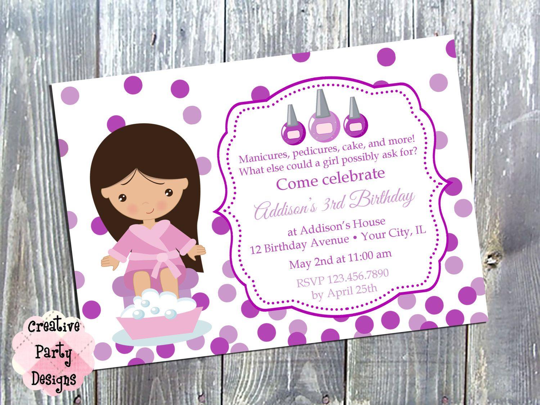 Girls Nail Party Invitation - Nail Birthday Invite - Manicure ...