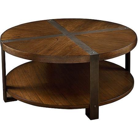 Industrial Collection Round Coffee Table With Casters Light Brown