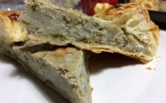 ricetta torta salata vegan di patate dolci e porri #torta #salata #vega #patatedolci #porri