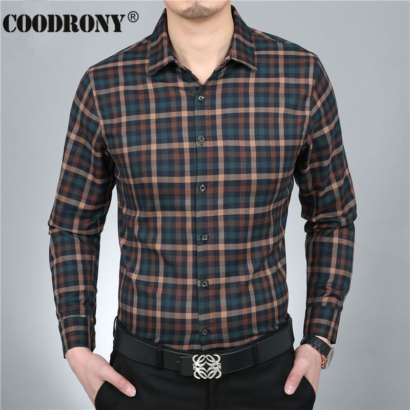 2016 Spring New 100% Pure Cotton Shirt Men Casual Dress Long Sleeve Plaid Shirts Brand Clothing Chemise Social Homme Marque 1104