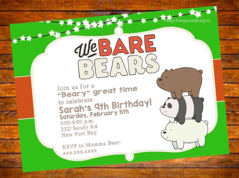 We Bare Bears Birthday Invitation Digital Download   Digital ...