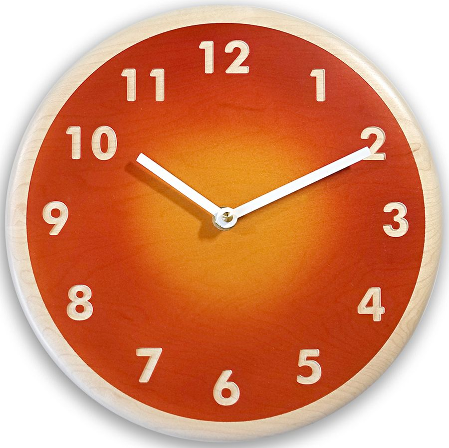 A Burnt Sienna Outer Ring Surrounds A Golden Inner Circle On This 10 Inch Diameter Wall Clock Clock Orange Wall Clocks Wall Clock Modern
