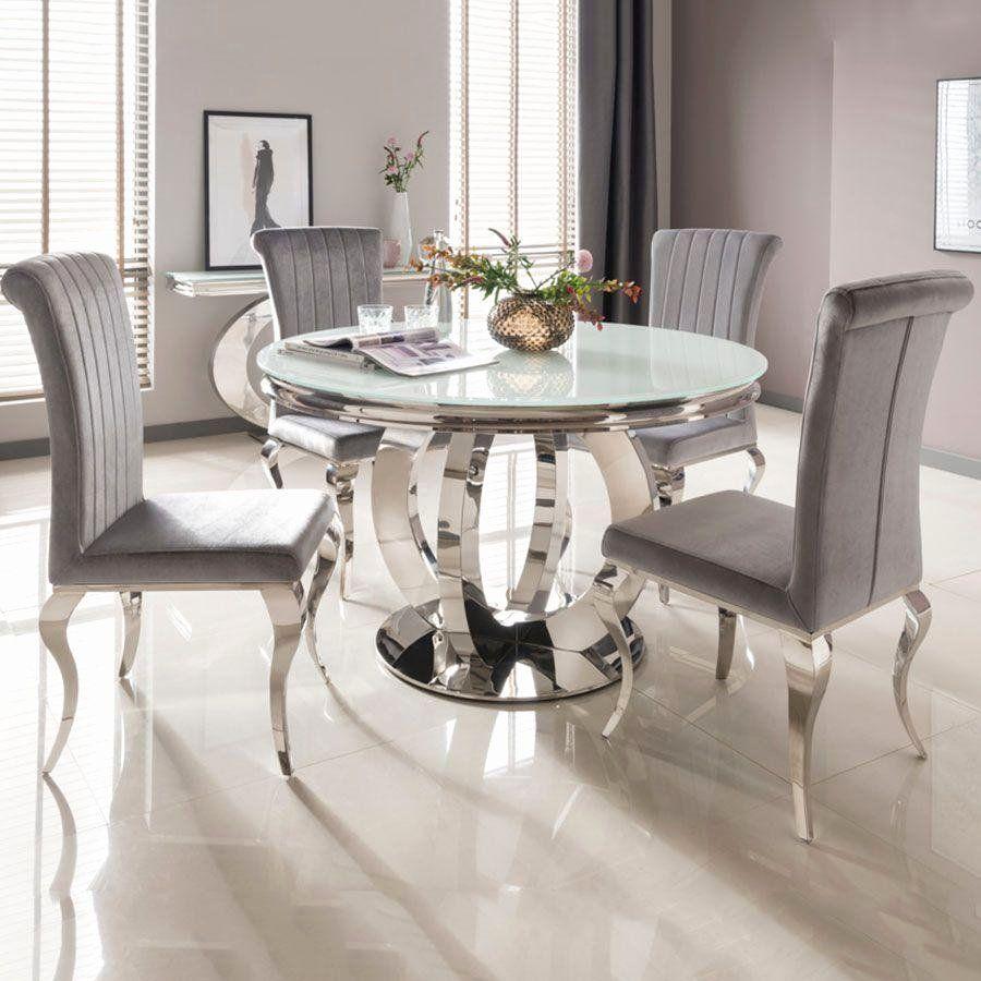 Runder Esstisch Aus Glas Best Of Ohio 130 Cm Weisses Glas Chrom Runder Dini Aus C In 2020 Round Dining Room Table Round Dining Room Sets Glass Round Dining Table
