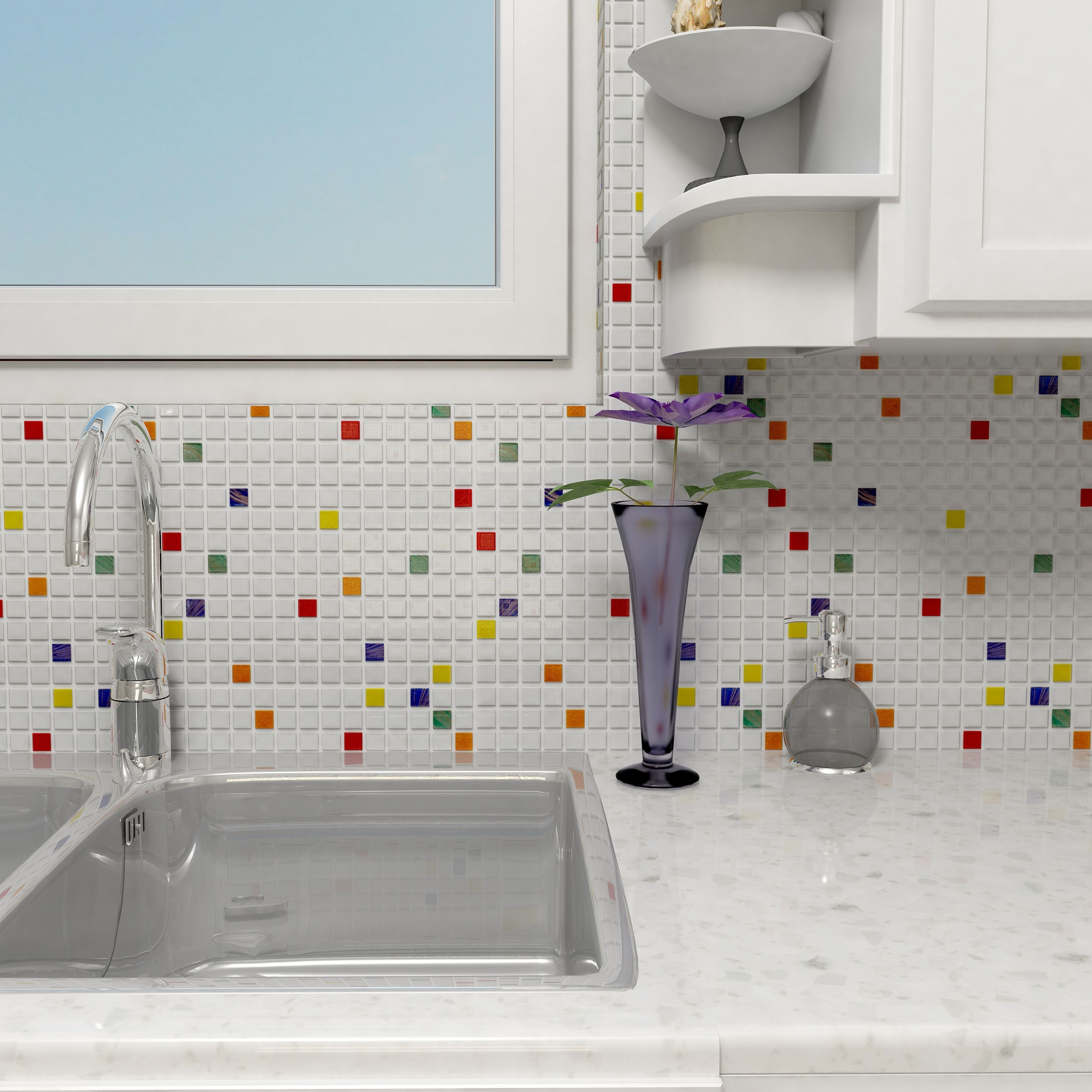 Somertile 12x12-inch Cuivre 1-inch Happy Translucent Glass Mosaic ...