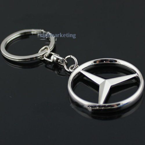 Leather and metal keyring Sport Line with logo MB