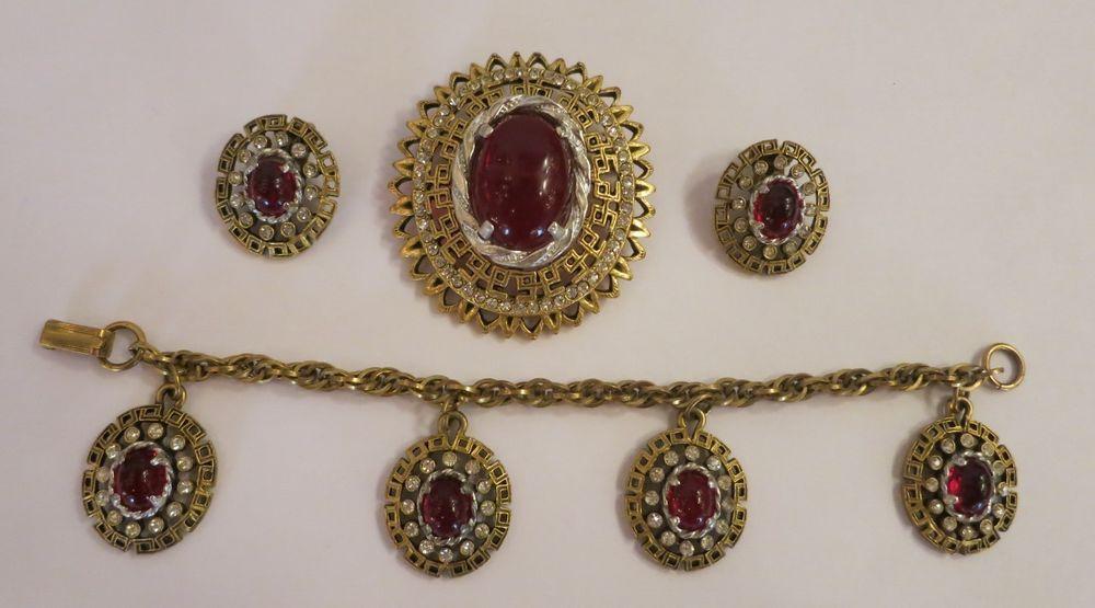 Vtg Cabochon Ruby Red Rhinestone Brooch, Bracelet & Clip Earrings Parure Set