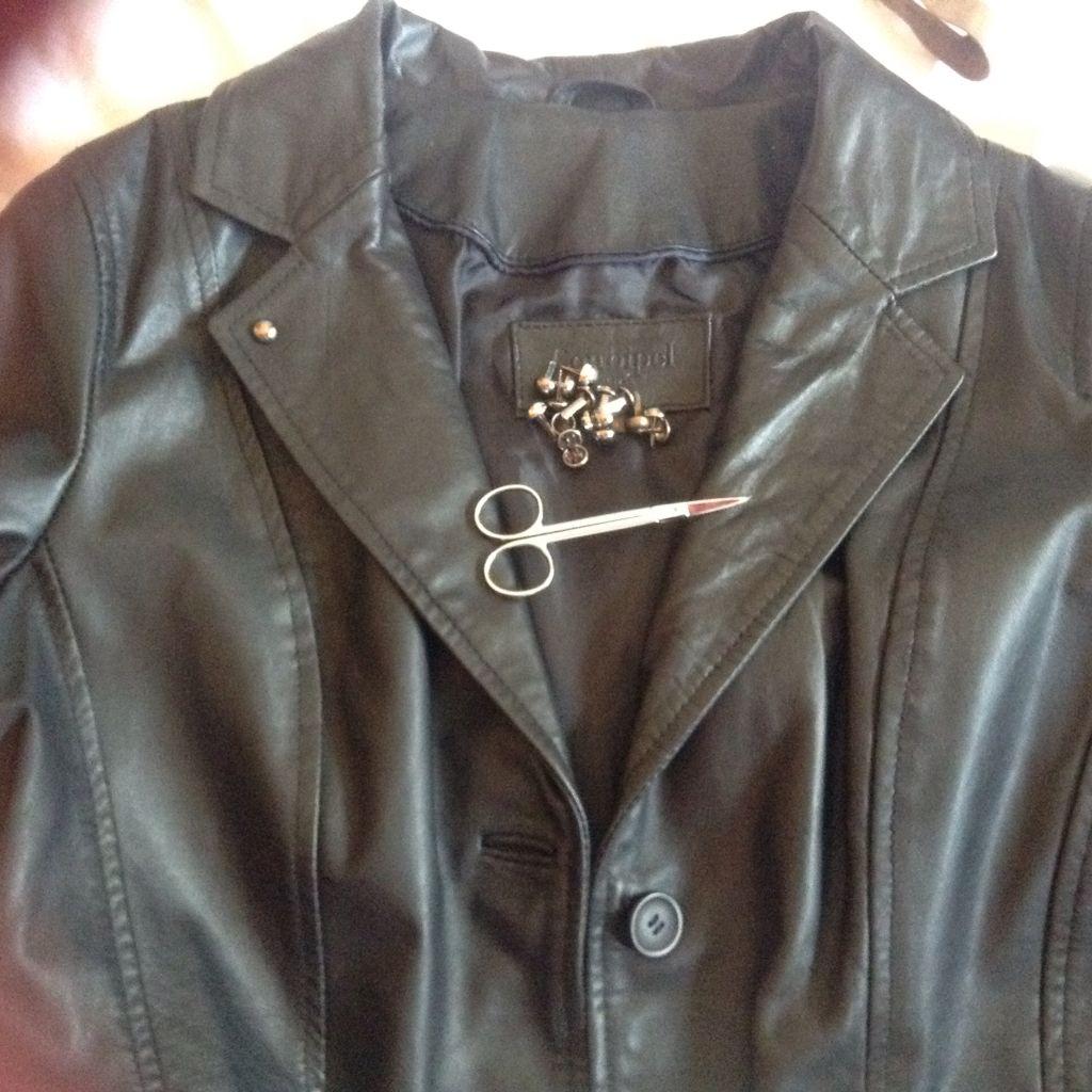 pelle giacca BLACK in CHIODO LEATHER elegante MODA GIUBOTTO qwrg7x4wE