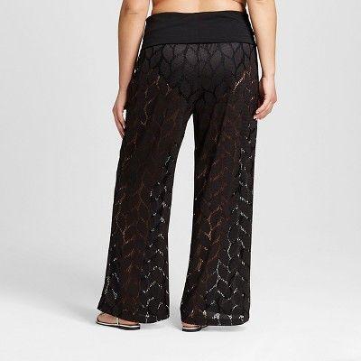 48eba97a0f3 Women s Plus Size Stretch Crotchet Pants Black 3X- Sea Angel