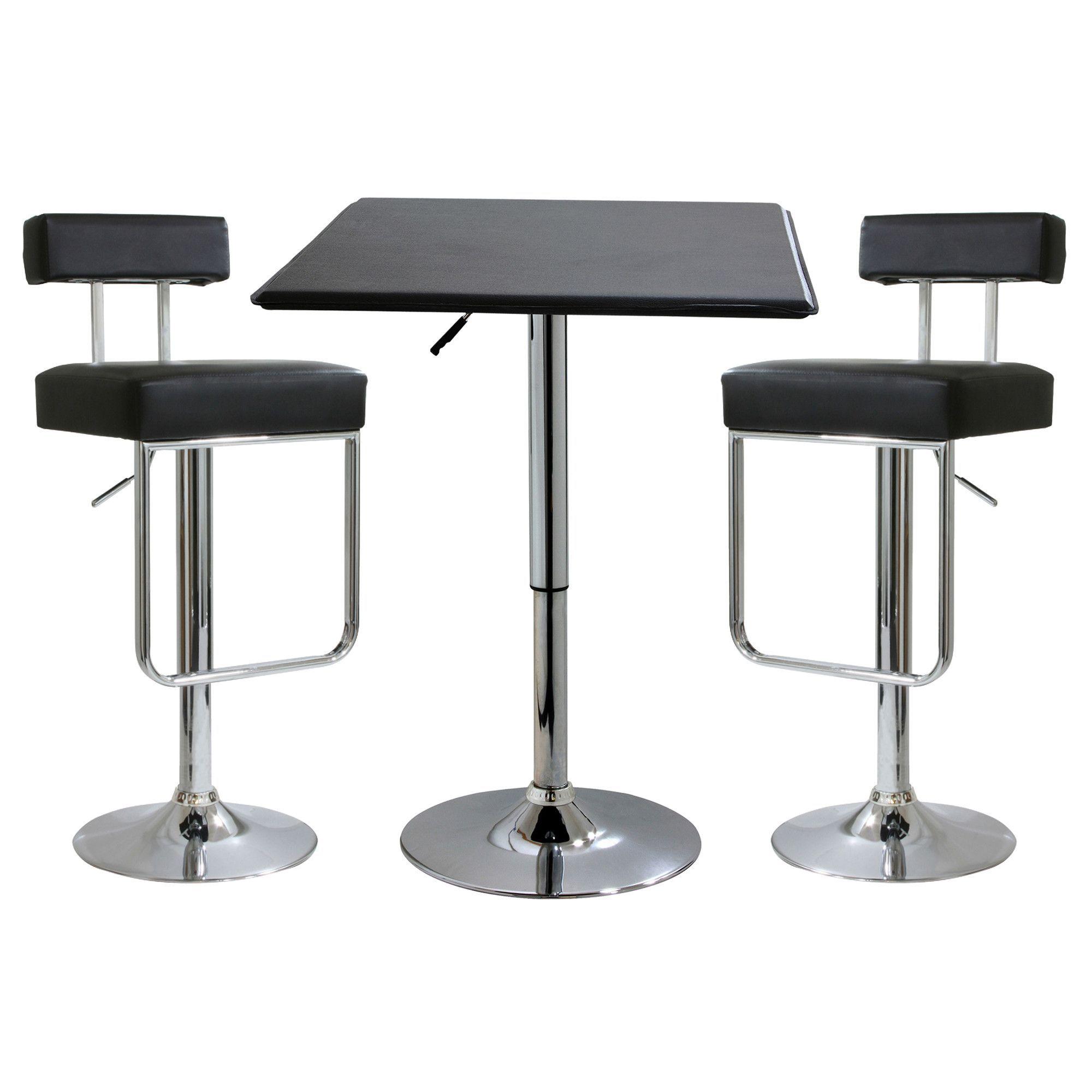 Amerihome 3 Piece Adjustable Height Pub Table Set Health And