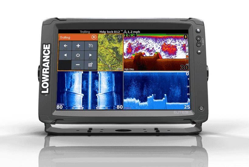 Lowrance Elite12 Ti met TotalScan Transducer en CMap