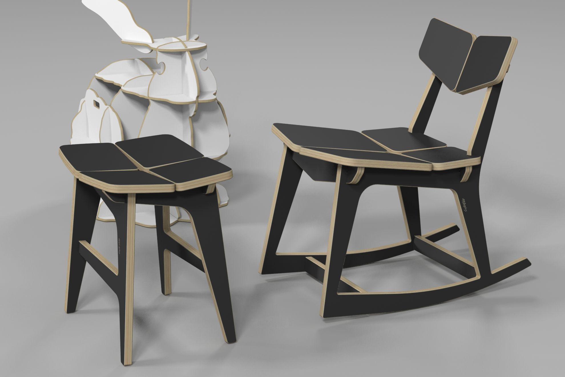 TETRA ROCKING CHAIR / CNC ROUTER / PLYWOOD FURNITURE