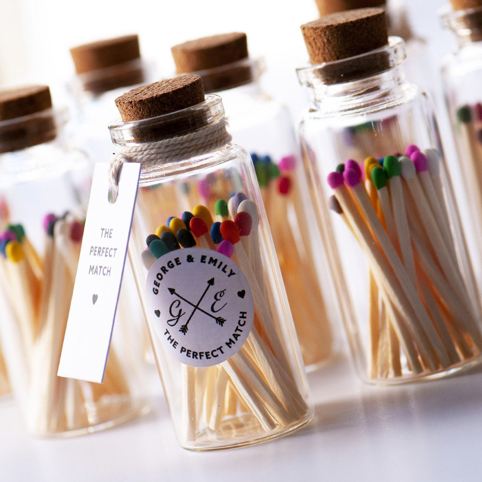 Wedding Favour, Couples Jar of Matches, Colourful Matches