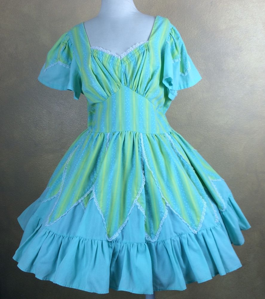 BOTH WITH LACE TRIM VINTAGE HANDMADE SQUARE DANCE DRESSES DIFFERENT COLORS