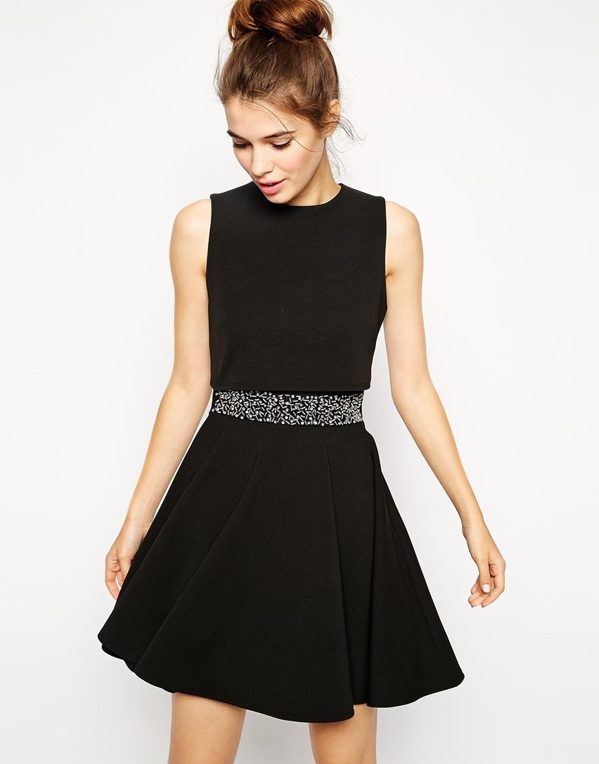 asos. skater dress with embellished waist and crop top. #fashion ...