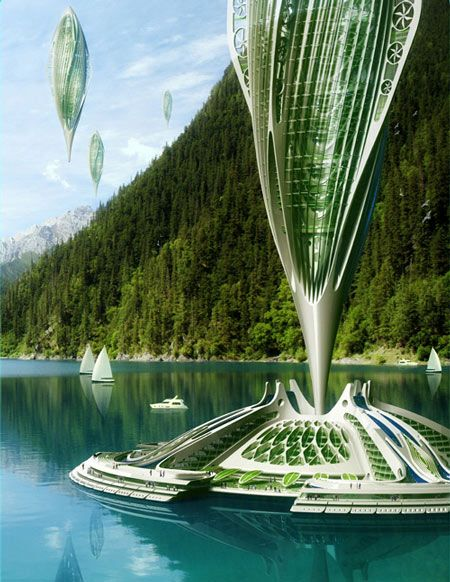 Belgian architect vincent callebaut has designed a conceptual transport system that would involve airships powered by seaweed called hydrogenase