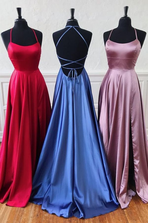 cheap red satin long prom dresses, criss cross back party dresses, senior prom dresses with split #dressestime #legsplit #promgowns #cheapdresses #promthings