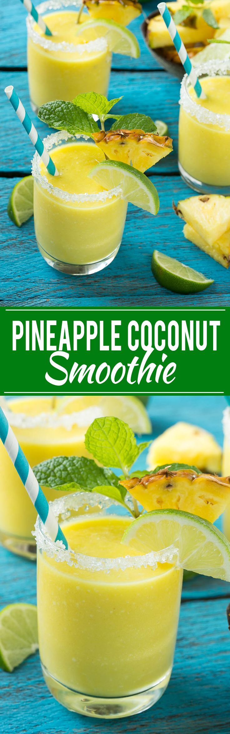 This pineapple coconut smoothie recipe is a tropical fruit delight that's both healthy and refreshing. #ad #fruitsmoothie