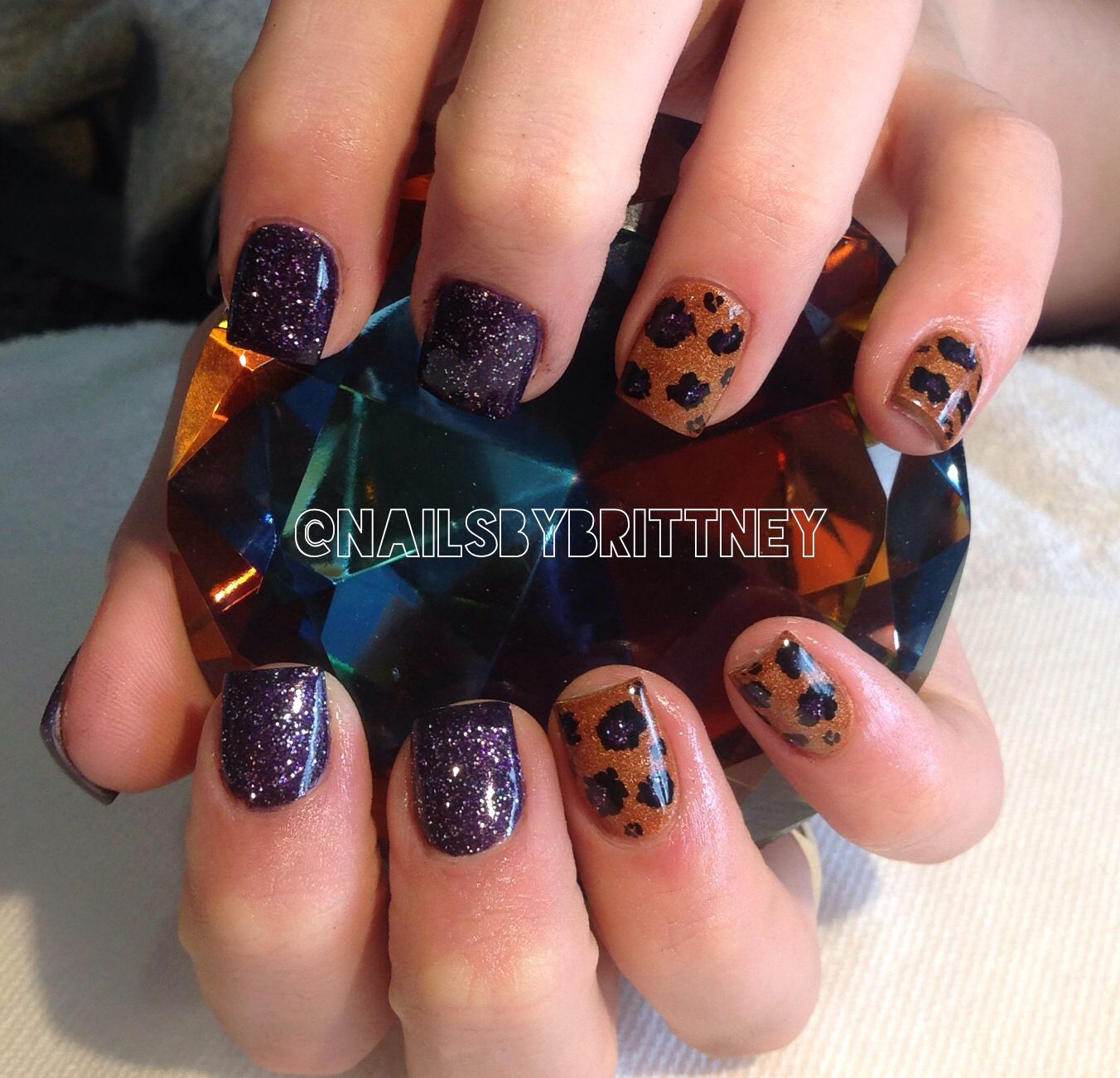 Purple Copper Fall Nails With Leopard Nails Christmas Nails Acrylic Almond Acrylic Nails