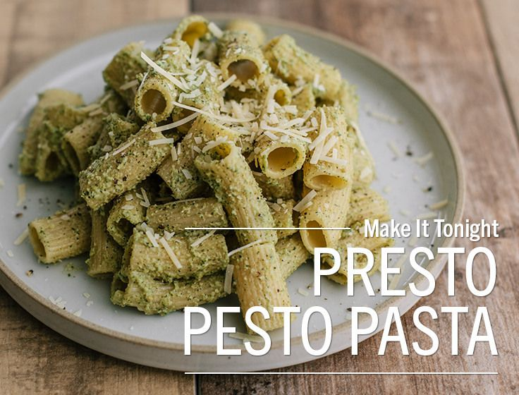 Presto Pesto Pastaneed Dinner In A Hurry This Meal Comes Together In The Time It Takes To Cook The Pasta Looking For A Pesto Pasta Easy Supper Recipes Dinner