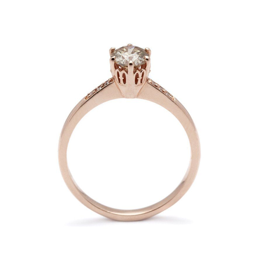 Hazeline solitaire ring rose gold u champagne diamond ct
