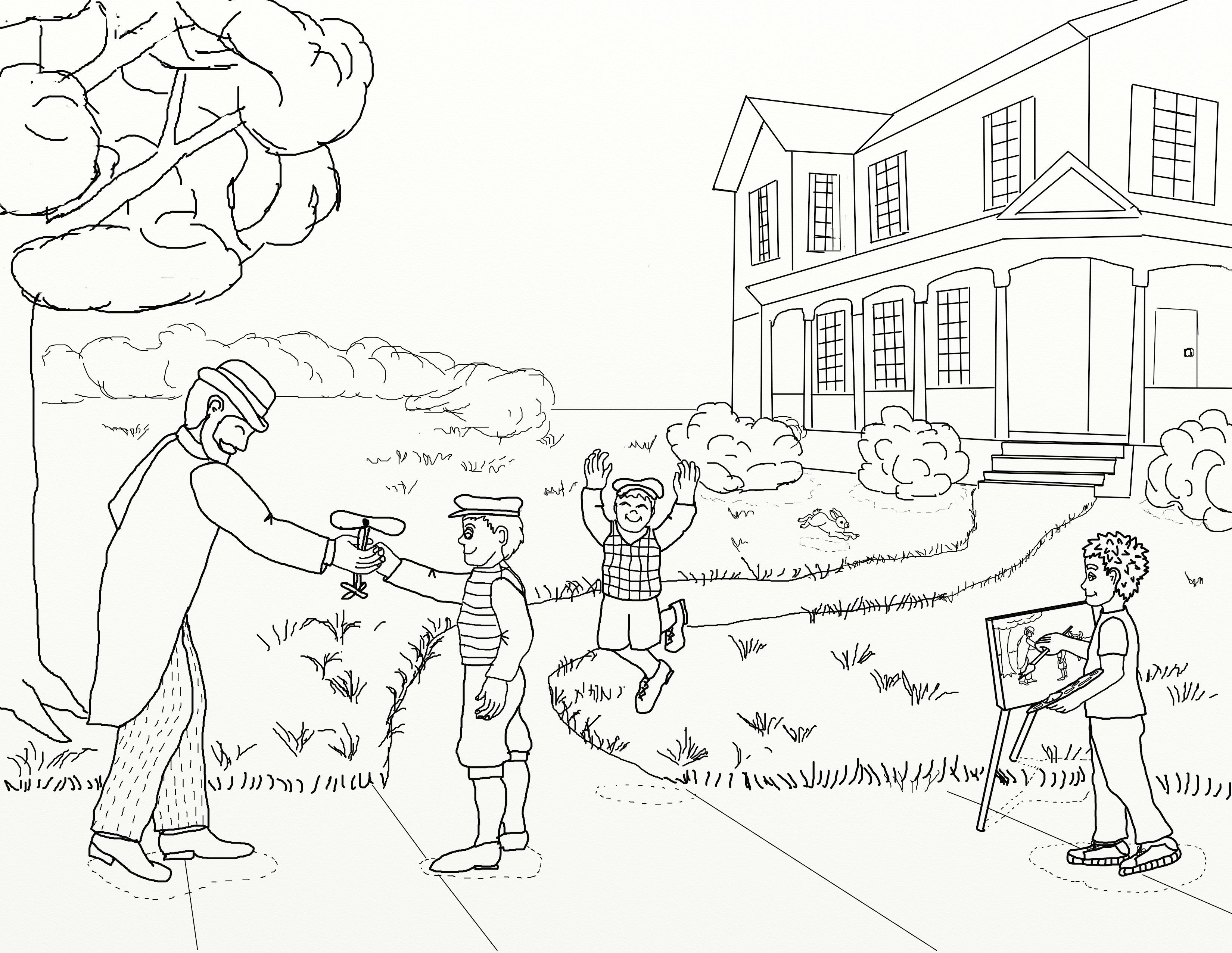 New Coloring Page Of Wright Brothers Getting A Rubber Band