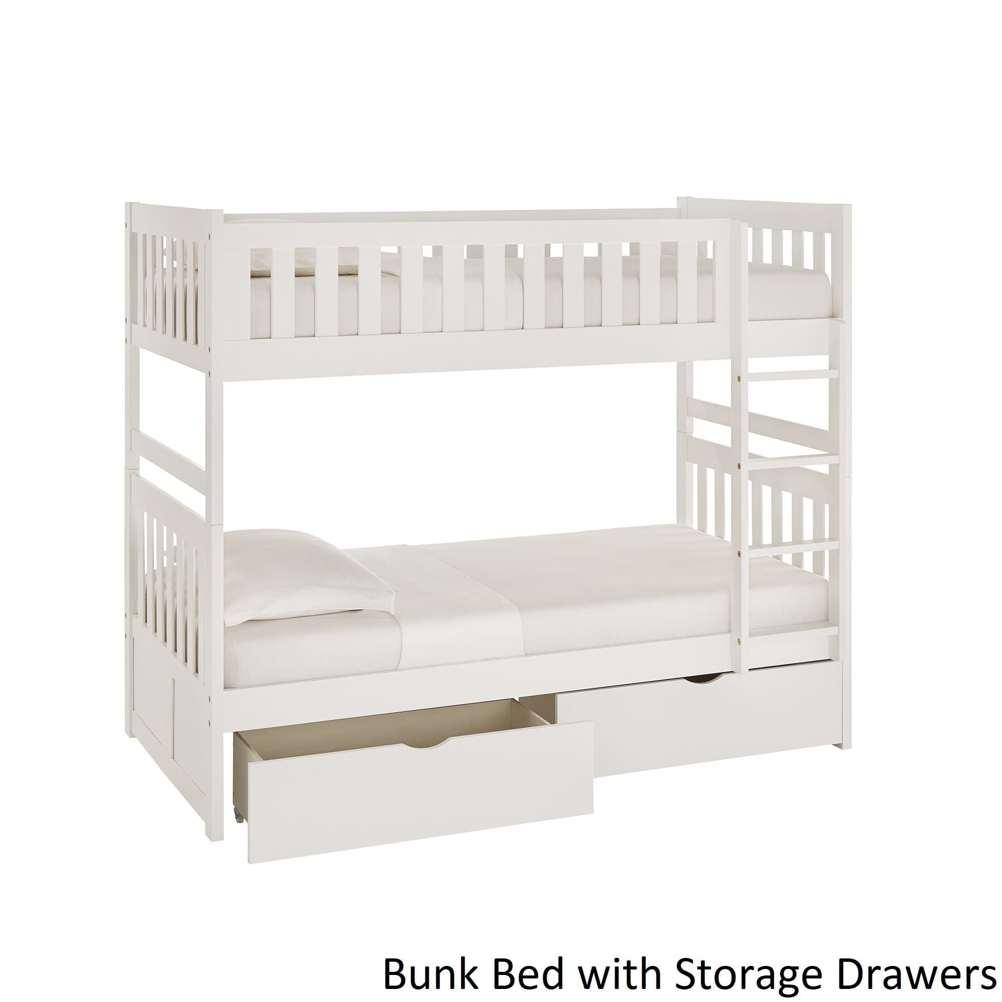 Junior loft bed ideas  Hunter Twin over Twin White Wood Bunk Bed by iNSPIRE Q Junior Bunk