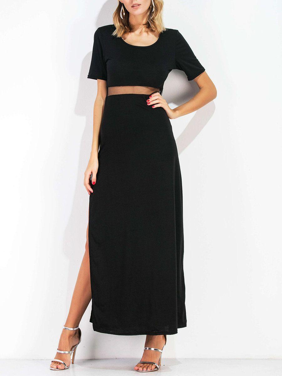 Adorewe justfashionnow black dressesdesigner chengni black mesh