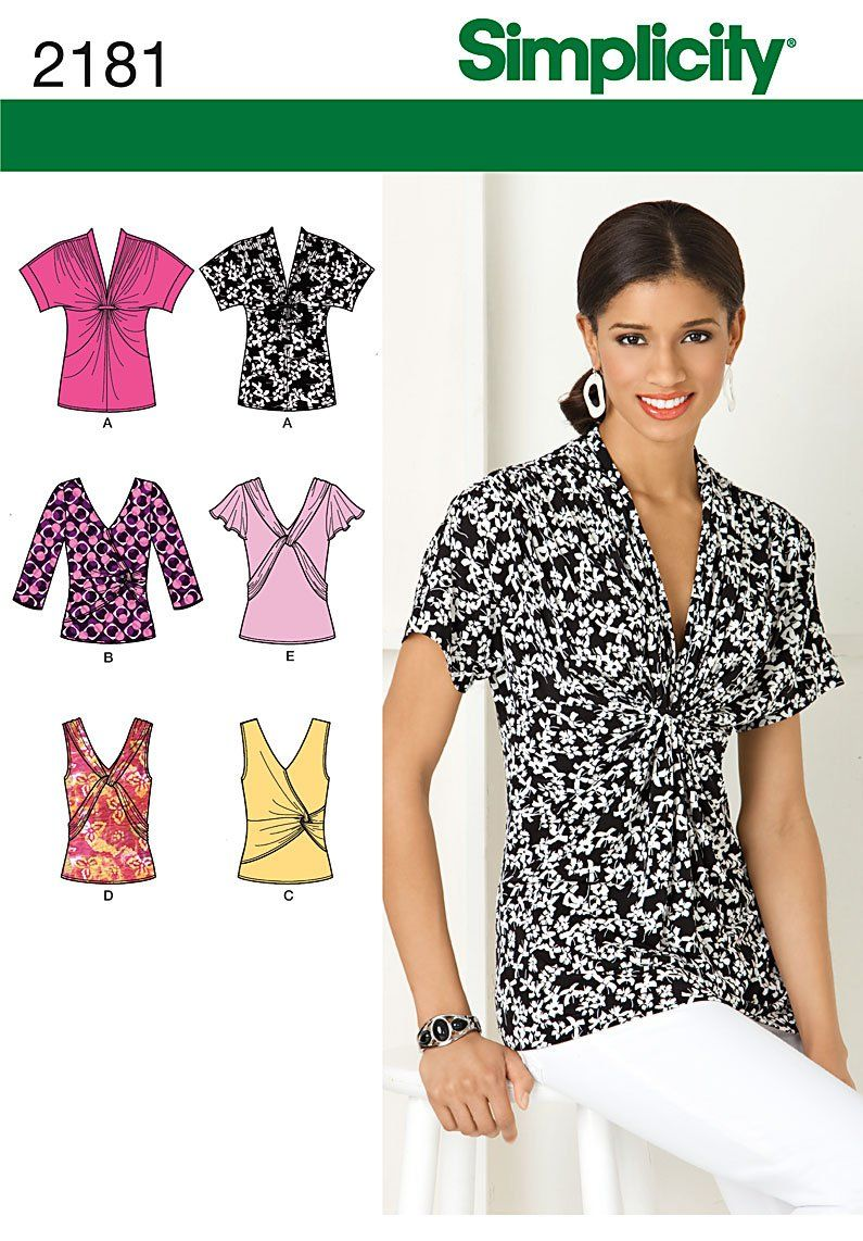 Simplicity Sewing Pattern 2181 Misses\' Knit Tops, Size H5 (6-8-10-12 ...