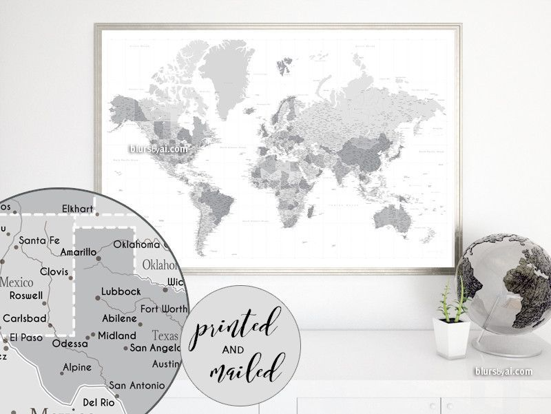 Highly detailed world map print world map with cities in world map print featuring a highly detailed world map in shades of gray please zoom in the images to see them better size color grayscale shown t gumiabroncs Choice Image