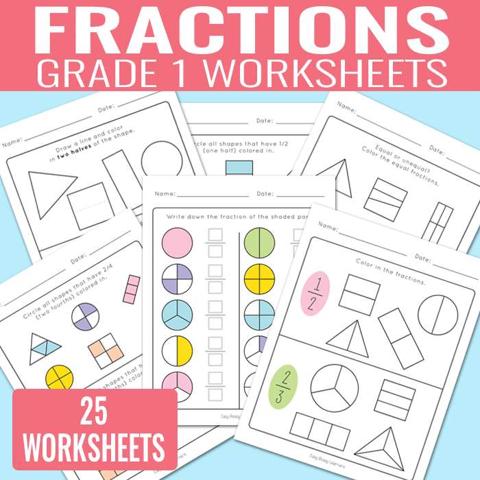 Fractions Worksheets for Grade 1 (Kindergarten and Grade 2)   math ...