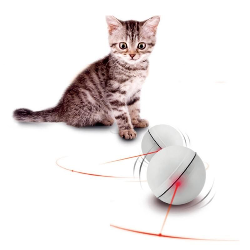 Red Cat Interactive Ball 360 Degree Funny Creative Pet Cat LED Light Electronic Rolling Ball Glowing Exercise Toys for Cats Puppy Dogs