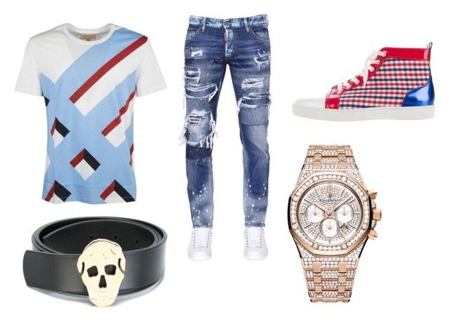 """Aud"" by aintdatjulian on Polyvore featuring Burberry, Dsquared2, Christian Louboutin, Audemars Piguet, Alexander McQueen, men's fashion and menswear"
