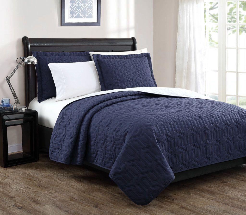 Dark Blue Quilt Bedding Home Ideas