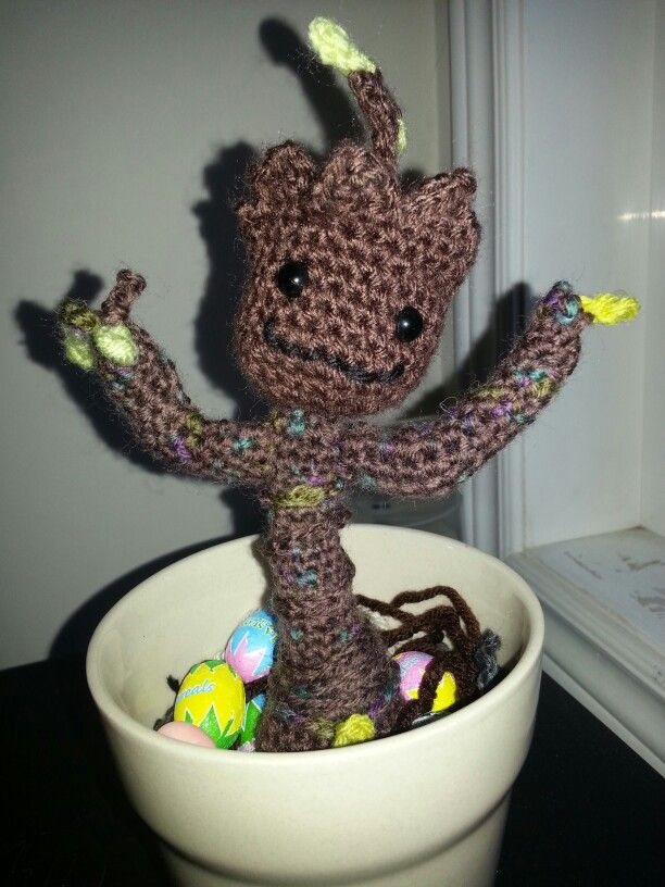 A happy Groot in a pot of chocolate eggs. ..pattern by Twinkie Chan