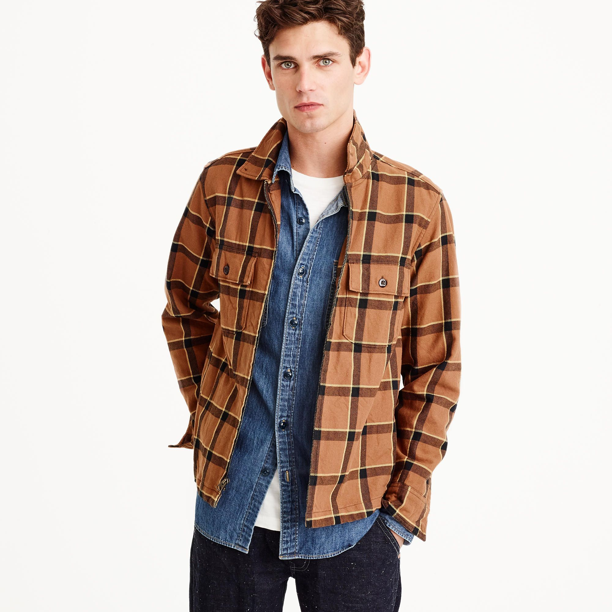 28a3e6538 Wallace & Barnes full-zip flannel overshirt | J.Crew | Clothing for ...