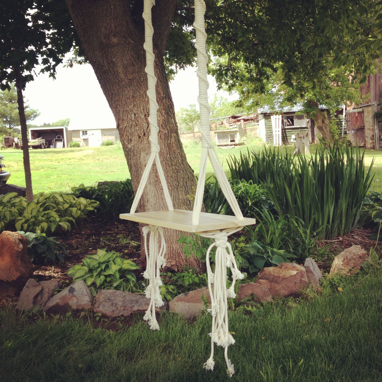 Tree Swing // Macrame Swing By Thethrowbackdaze On Etsy