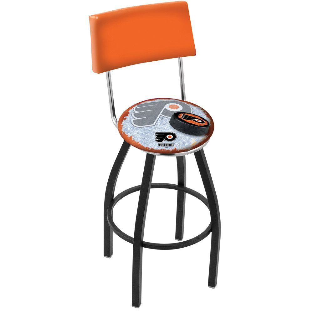 Modern Philadelphia Flyers Orange Swivel Bar Stool In Black Chrome