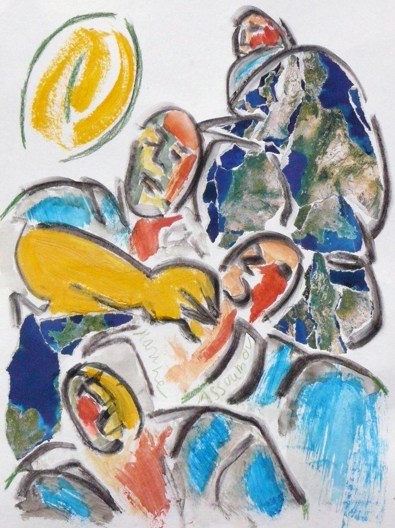 Les joueurs de rugby dessin gouache crayon et collage peint par marine assoumov rugby art - Dessin de joueur de rugby ...