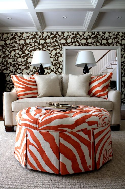 A Touch of Animal Design - Tangerine Zebra Ottoman and Pillows - Amazing Living Room Design With Brown Floral Wallpaper, Glossy