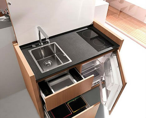 Ultra Compact Interior Designs 14 Small Space Solutions Webecoist Space Saving Kitchen Contemporary Kitchen Design Tiny Kitchen
