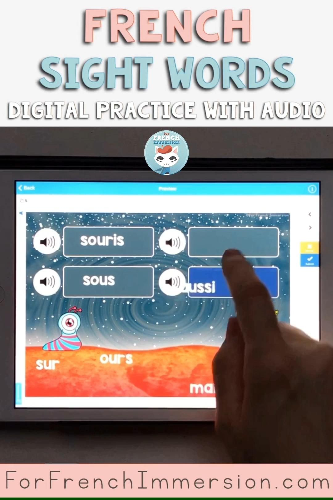 Digital practice for French high-frequency words? These digital task cards will make your kiddos learning French as a second language practice! These are French Boom Cards to practice French sight words (= mots fréquents). The exercises include audio so your students can listen to a person speaking French, other than you. Use these digital cards on computers, tablets, interactive whiteboards, etc. Pour pratiquer les mots fréquents / mots usuels! For French Immersion and Core French classrooms.