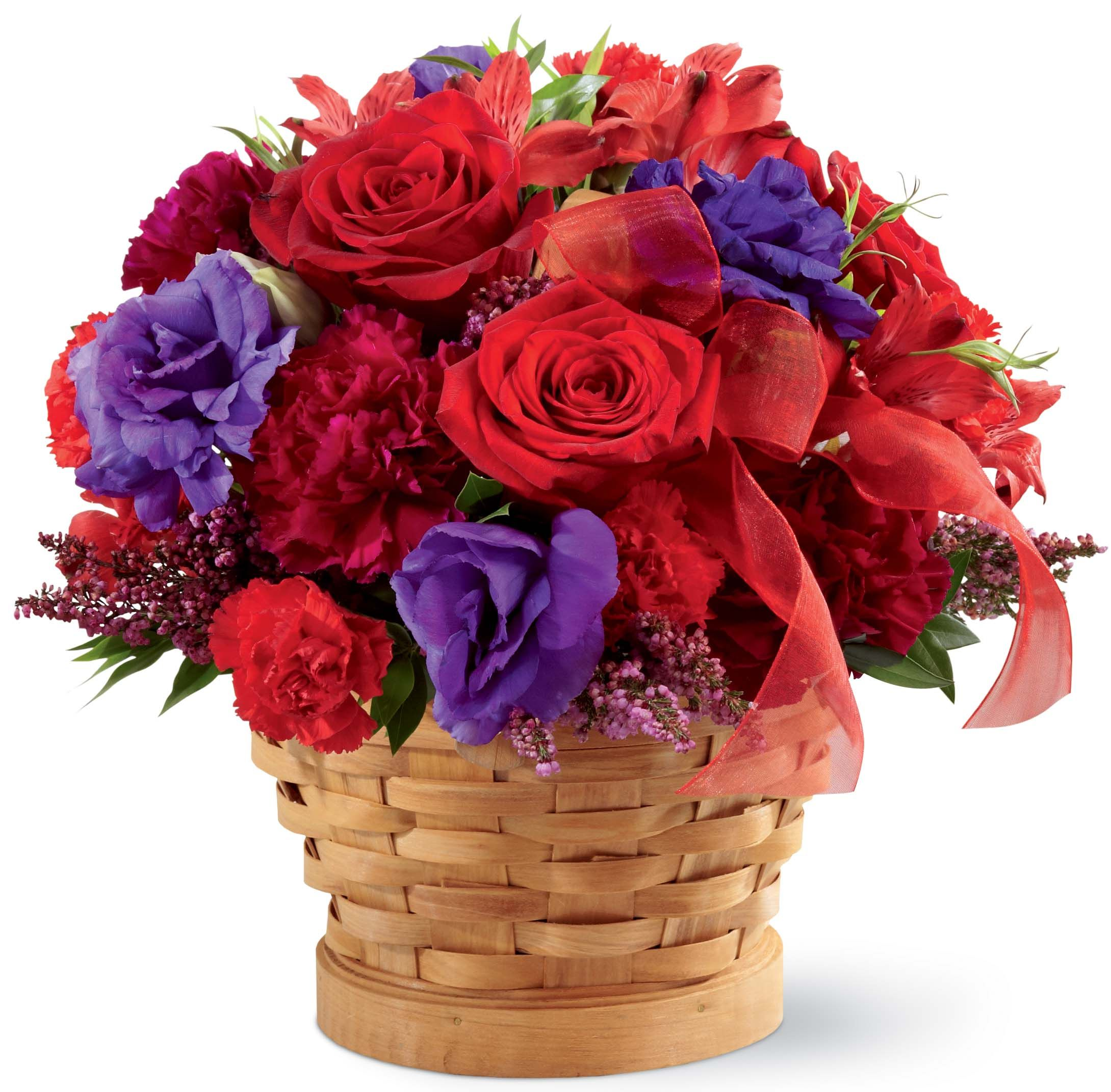 This pretty basket is filled with popular blooms in shades