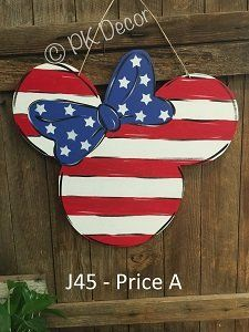 J45 - Minnie Mouse Patriotic Door Hanger - Disney July 4 Door Hanger- Labor Day - Memorial Day - Disney Patriotic Sign #scentsylaborday