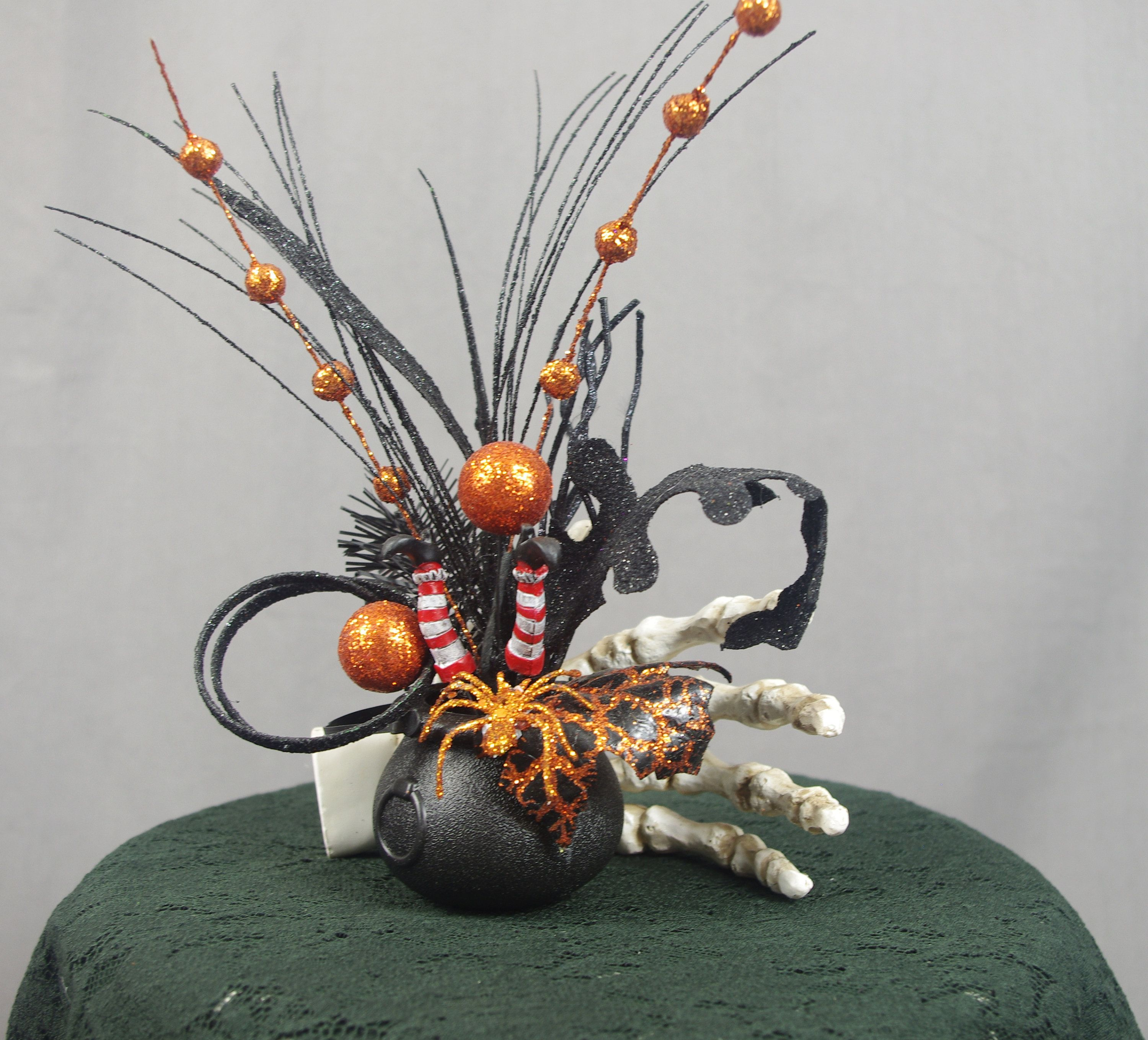 Skeleton Hand Decoration With Spooky Witch Legs Halloween