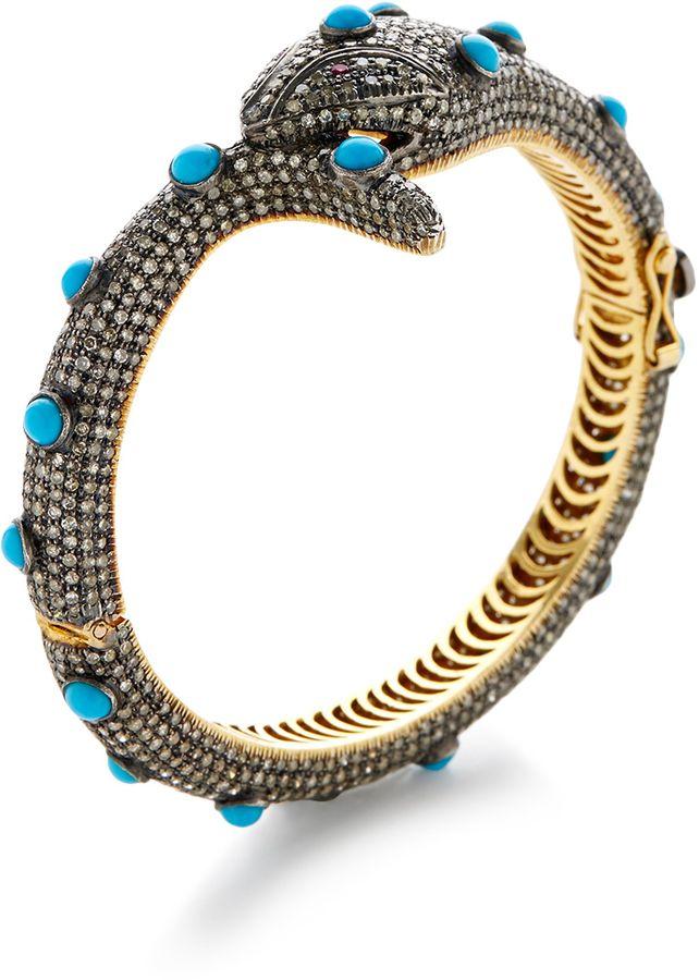 Pave Diamond  & Turquoise Snake Bangle Bracelet