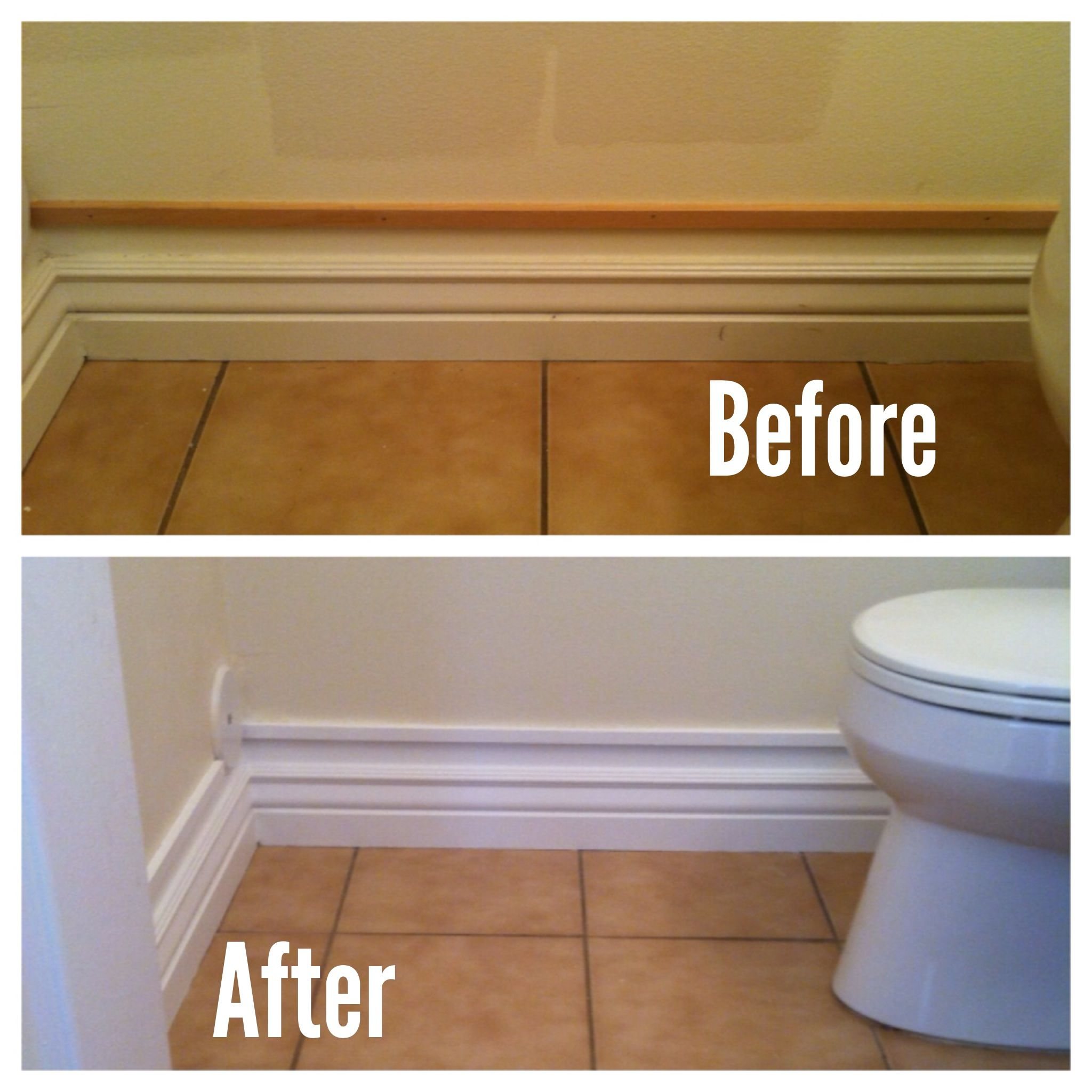 4.5 Inch Baseboard To 7 Inch Baseboard. A Small Piece Of Trim And White Paint! Excited To Do